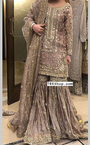 Sand Grey Silk Suit | Pakistani Wedding Dresses