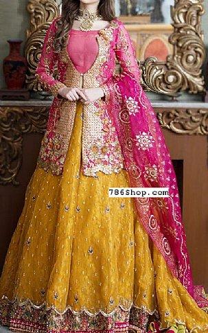 Magenta/Mustard Organza Suit | Pakistani Wedding Dresses