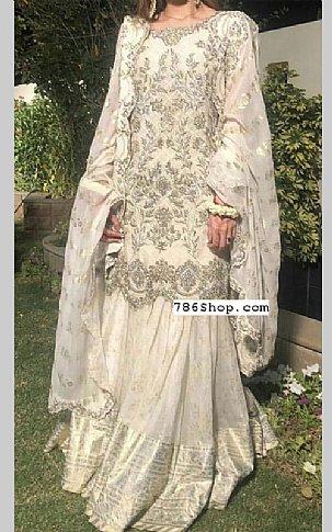 Off-white Crinkle Chiffon Suit | Pakistani Wedding Dresses
