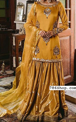 Mustard Silk Suit | Pakistani Wedding Dresses