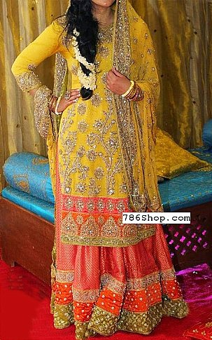 Yellow Crinkle Chiffon Suit | Pakistani Wedding Dresses