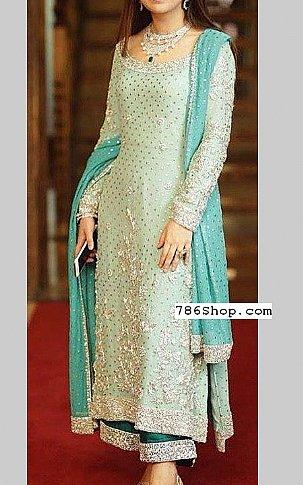 Light Turquoise Crinkle Chiffon Suit | Pakistani Party and Designer Dresses