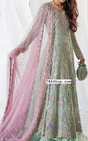 Mint Green Crinkle Chiffon Suit   Pakistani Wedding Dresses