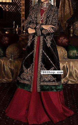 Bottle Green/Red Velvet Suit | Pakistani Wedding Dresses