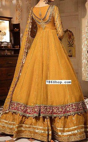 Mustard Crinkle Chiffon Suit | Pakistani Wedding Dresses