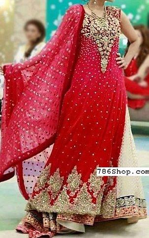 Red Crinkle Chiffon Suit   Pakistani Wedding Dresses