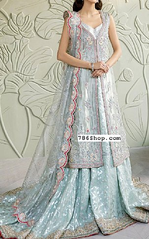 Silver Raw Silk Suit   Pakistani Wedding Dresses