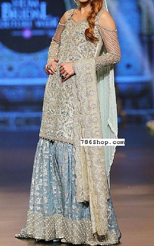 Off-white Crinkle Chiffon Suit | Pakistani Wedding Dresses