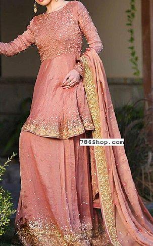 Tea Pink Raw Silk Suit | Pakistani Wedding Dresses
