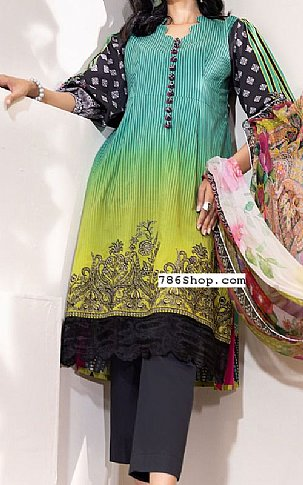 Sea Green/Black Cambric Suit | Pakistani Winter Clothes in USA