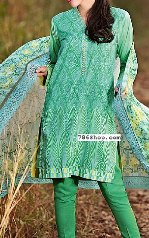 Green Lawn Suit | Pakistani Lawn Suits in USA