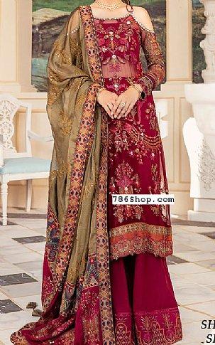 Magenta Chiffon Suit   Pakistani Chiffon Dresses
