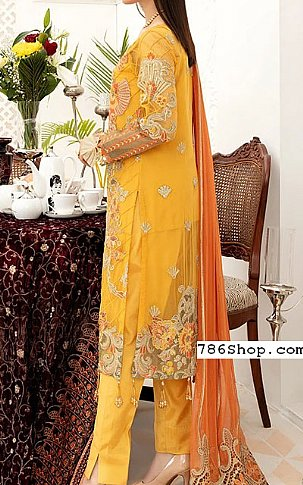 Gold Yellow Chiffon Suit | Pakistani Chiffon Dresses in USA