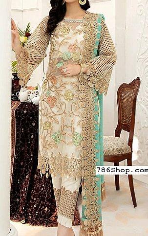Off-white Chiffon Suit   Pakistani Chiffon Dresses in USA