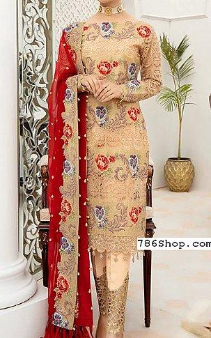 Ivory/Maroon Chiffon Suit | Pakistani Chiffon Dresses in USA
