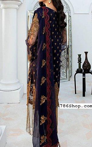 Navy/Plum Chiffon Suit   Pakistani Chiffon Dresses in USA