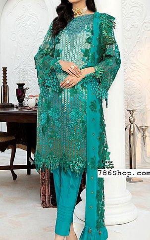 Sea Green Chiffon Suit | Pakistani Chiffon Dresses in USA