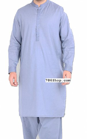 Sky Blue Men Shalwar Kameez | Pakistani Dresses in USA