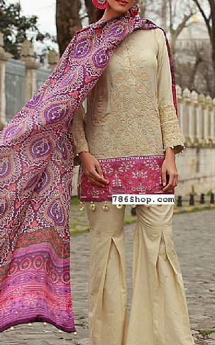 Ivory Lawn Suit | Pakistani Lawn Suits in USA