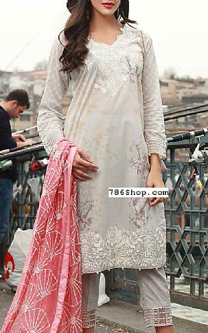 Light Grey Lawn Suit | Pakistani Lawn Suits in USA