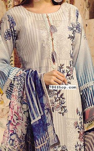 Ivory/Blue Lawn Suit | Pakistani Lawn Suits
