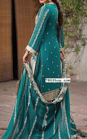 Teal Green Pure Crinkle Chiffon Suit | Pakistani Chiffon Dresses in USA