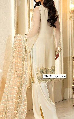 Off-white Chiffon Suit | Pakistani Chiffon Dresses in USA