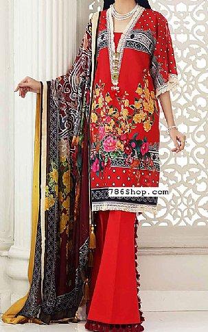 Red Lawn Suit | Pakistani Lawn Suits