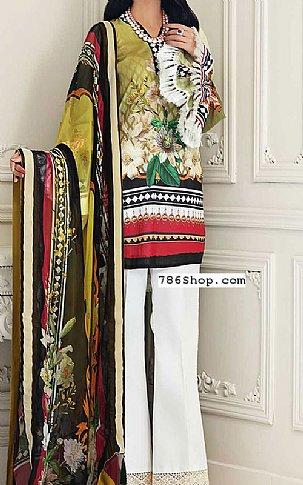Olive Lawn Suit   Pakistani Lawn Suits