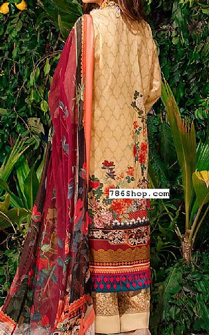 Fawn/Maroon Lawn Suit | Pakistani Lawn Suits in USA