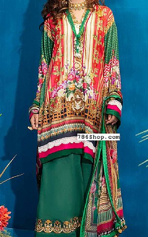Hot Pink/Green Lawn Suit | Pakistani Lawn Suits in USA
