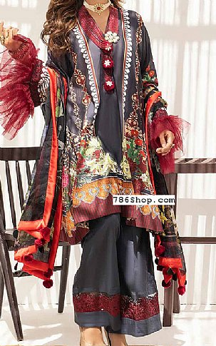 Charcoal Grey Lawn Suit | Pakistani Lawn Suits in USA