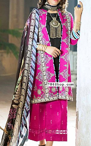Shocking Pink Cambric Suit   Pakistani Winter Clothes