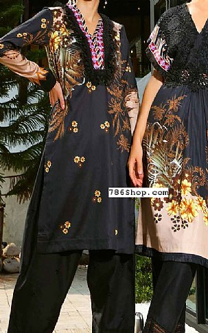 Black Cotton Satin Kurti | Pakistani Winter Clothes