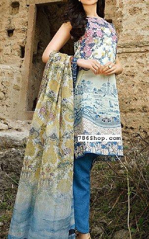 Off-White/Blue Cotton Lawn Suit | Pakistani Lawn Suits