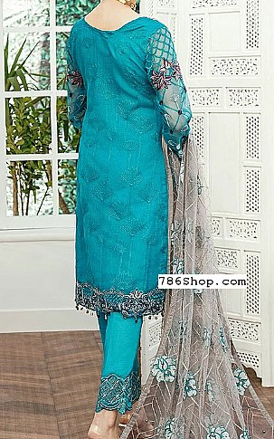 Turquoise Organza Suit | Pakistani Chiffon Dresses in USA