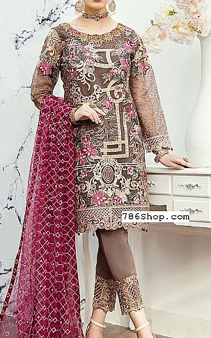 Brown/Magenta Organza Suit | Pakistani Chiffon Dresses