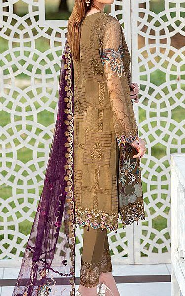 Camel Brown Organza Suit   Pakistani Chiffon Dresses