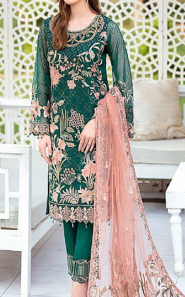 Teal Organza Suit | Pakistani Chiffon Dresses