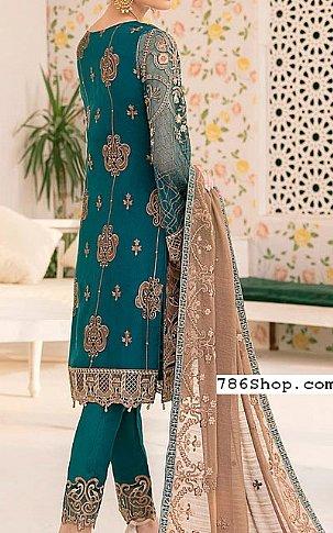 Teal Chiffon Suit | Pakistani Chiffon Dresses in USA