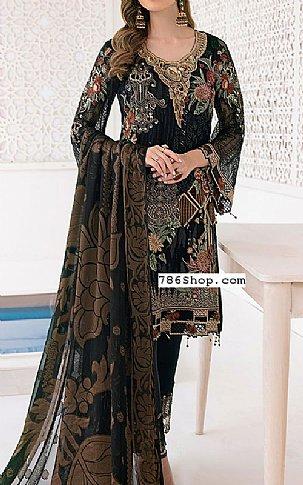 Charcoal Chiffon Suit | Pakistani Chiffon Dresses in USA