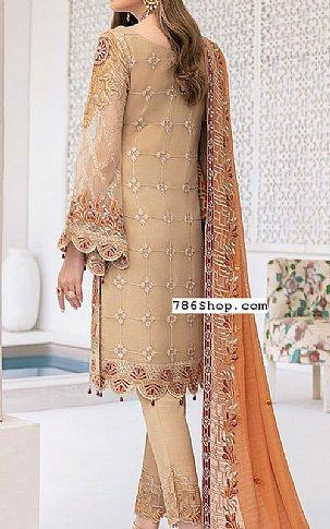 Beige Chiffon Suit | Pakistani Chiffon Dresses in USA