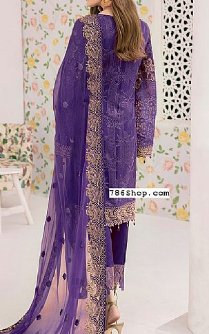 Indigo Chiffon Suit | Pakistani Chiffon Dresses in USA