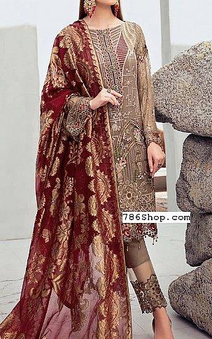 Bronze/Maroon Chiffon Suit | Pakistani Chiffon Dresses in USA