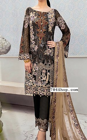 Black Chiffon Suit | Pakistani Chiffon Dresses in USA