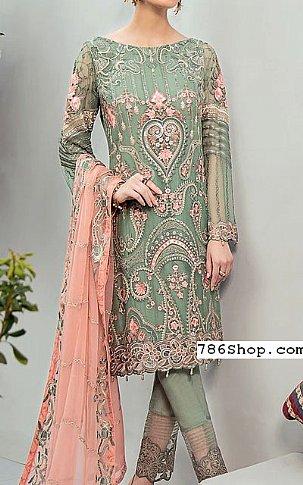 Pistachio/Peach Chiffon Suit | Pakistani Chiffon Dresses in USA