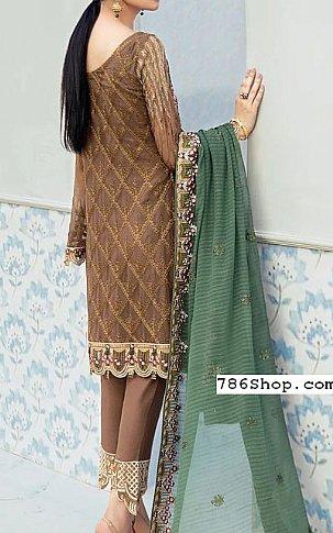 Brown/Green Chiffon Suit | Pakistani Chiffon Dresses
