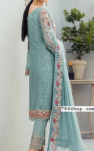 Light Turquoise Chiffon Suit | Pakistani Chiffon Dresses in USA