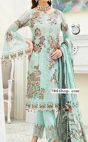 Turquoise Chiffon Suit   Pakistani Chiffon Dresses