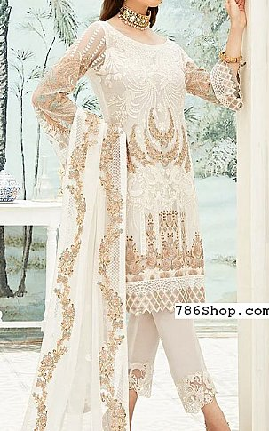 White Chiffon Suit | Pakistani Chiffon Dresses in USA